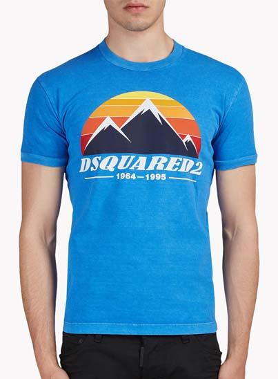 T-shirt bleu imprimé – Dsquared2