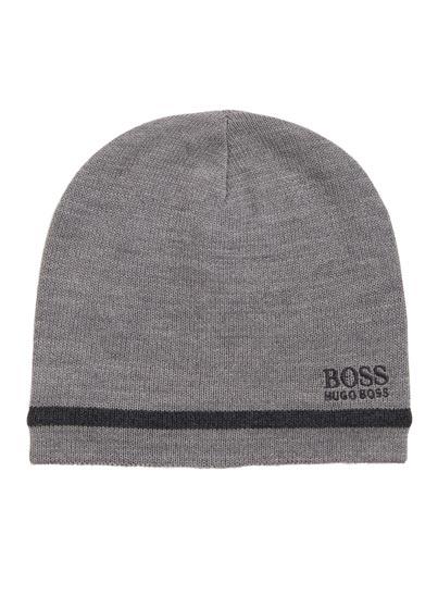 Bonnet gris avec mélange de matières à teneur en laine signé BOSS Green.