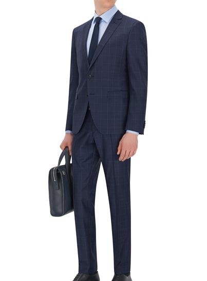 Costume au look denim à carreaux signé BOSS Homme.