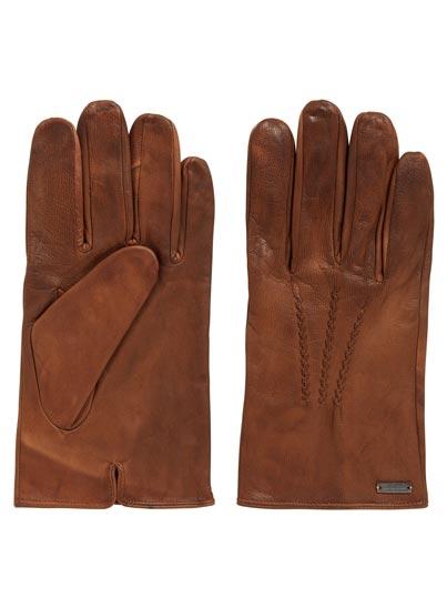 Gants hivernaux casual en cuir ciré souple signés BOSS Orange.