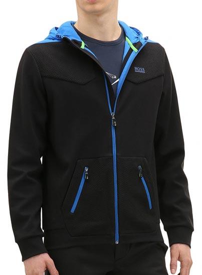 Sweat noir et bleu vif en coton mélangé lisse et du coton mélangé structuré.