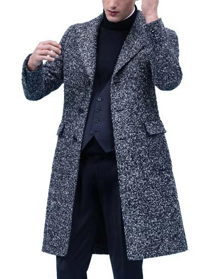 Manteau simple boutonnage à 3 boutons, en laine bouclée avec effet diagonal, gris, déstructuré, avec revers larges et poches plaquées à rabat.