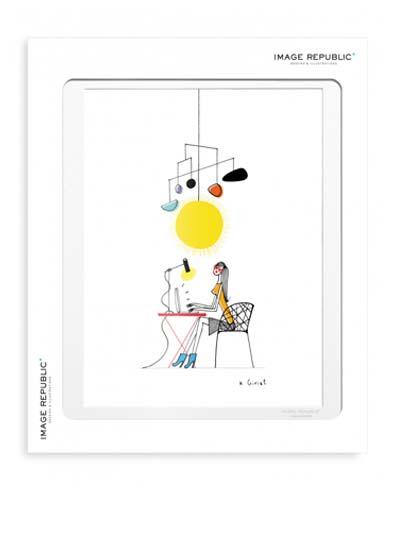 Illustration avec passe-partout, fabrication Française.