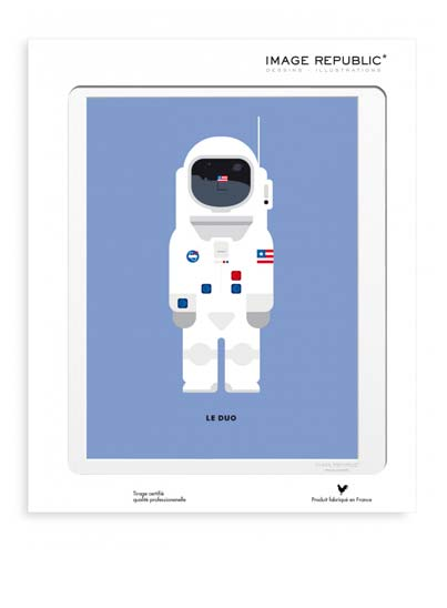 Illustration Neil Armstrong avec passe-partout - Image Republic.