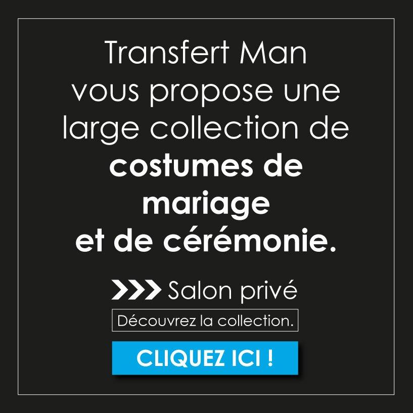 Découvrez la collection de costumes de mariages et de cérémonies dans les boutiques Transfert man.
