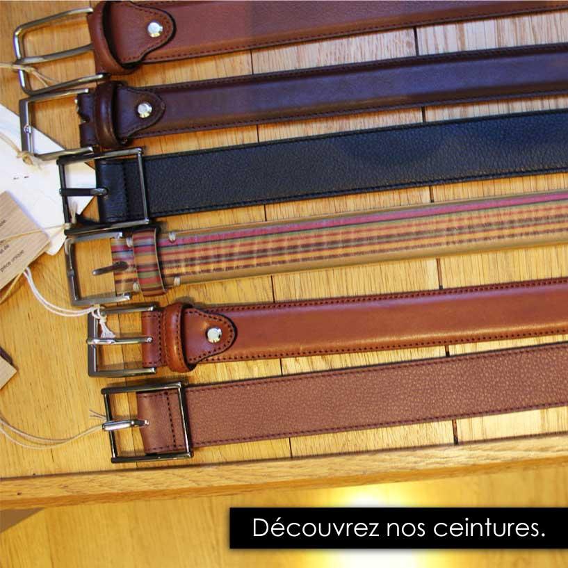 Ceintures en cuir marron, noire idéal avec un pantalon de costume.