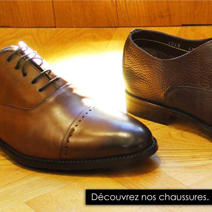 Chaussures en cuir lisse, grainé, noire, marron idéal avec un costume.