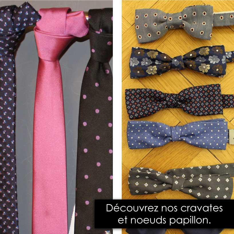 Cravates et noeuds papillon, unis ou à motifs pour costumes de mariage ou de cérémonie.