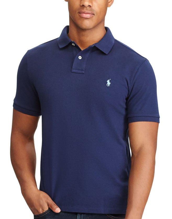 Polo Ralph Lauren bleu marine, manches courtes pour homme.