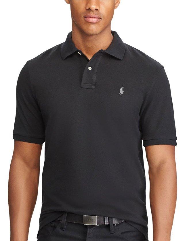 Polo Ralph Lauren noir, manches courtes pour homme.