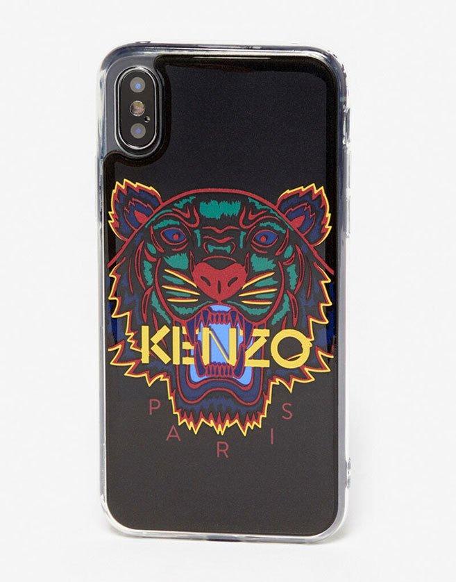 Coque Kenzo Motif Tigre et logo KENZO imprimés. Coque légère en plastique.