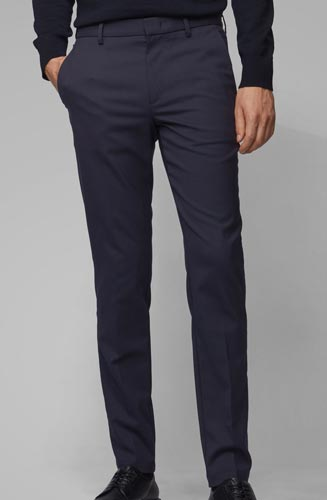 Pantalon chino BOSS Homme confectionné en twill stretch à teneur en laine.