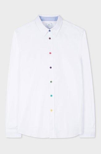 Confectionnée en 100% coton, cette chemise Paul Smith à manches longues blanche raffinée est taillée dans une coupe ajustée