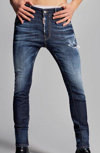 """Jeans Dsquared2 bleu denim """"Dark Wash Super Twinky"""" effet délavé et usé, lavage foncé"""