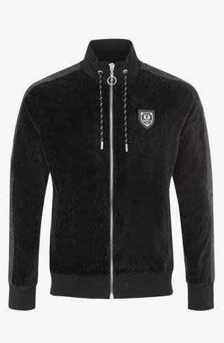 Sweatshirt Horpist slim, col montant, en tissu panne de velours, avec des bandes appliqué noir de type Python.