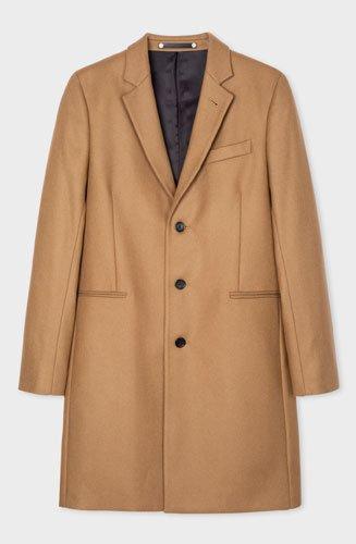 """Confectionné dans un tissu en laine et cachemire mélangés, ce manteau Paul Smith""""Epsom"""" camel à boutonnage simple est doté d'une patte de boutonnage en corne."""